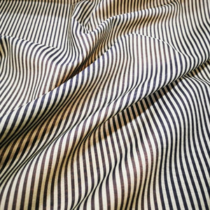 Silk Cotton Blend, Fine Grey and White Stripe - 1/4 metre