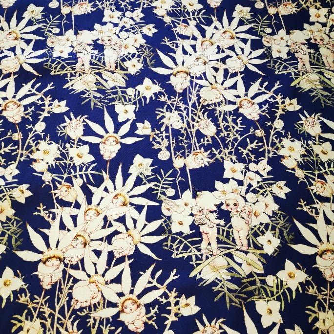 100% Cotton, May Gibbs Flannel Flower Babies, Midnight  - 1/4 metre
