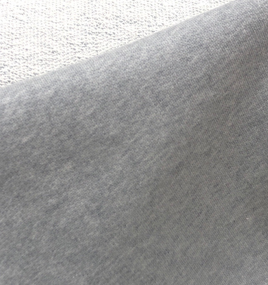 100% Cotton Loop Back Fleece, Grey Marle - 1/4 metre