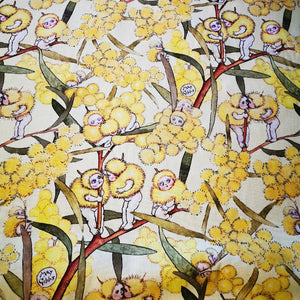 100% Cotton, May Gibbs Blossom Babies, Yellow  - 1/4 metre