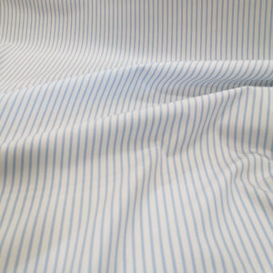 100% Egyptian Cotton, White and Pale Blue Stripe - 1/4 metre