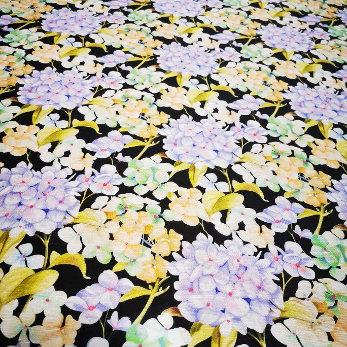 Silk Linen , Hydrangeas on Black - 1/4 metre