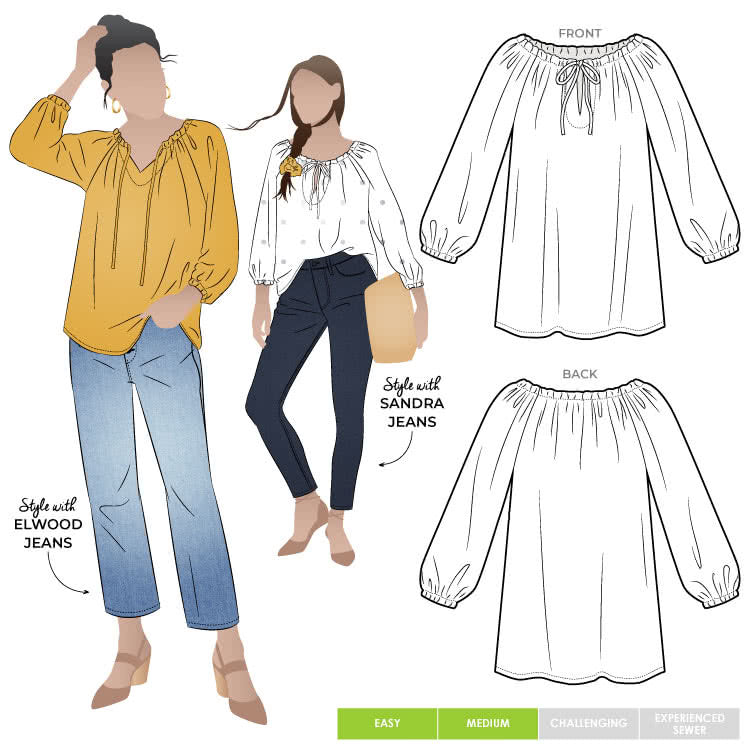 Style Anita Peasant Blouse - sizes 4 to 16