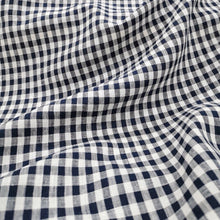 Load image into Gallery viewer, 100% Linen, Small Navy Gingham - 1/4metre