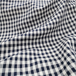 100% Linen, Small Navy Gingham - 1/4metre