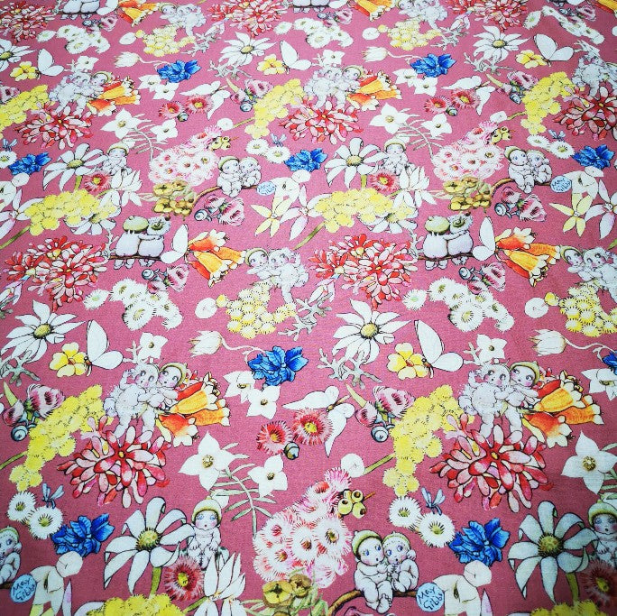 100% Cotton, May Gibbs Blossom Babies, Dusky Rose  - 1/4 metre