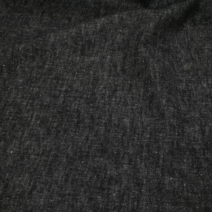 100% Cotton Denim, Black Neps - 1/4 metre