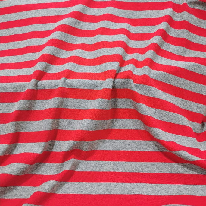 Cotton Jersey, Red And Silver Marle Thick Stripe - 1/4 metre