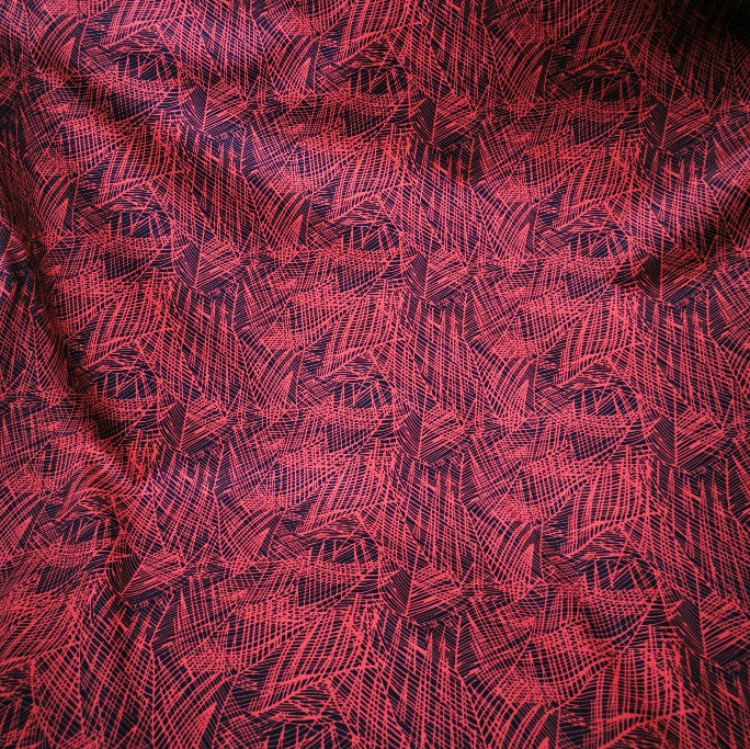100% Cotton Poplin, Graphic Leaf, Red  - 1/4 metre