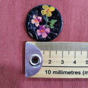 Italian Painted Black Floral Coconut Button, Large
