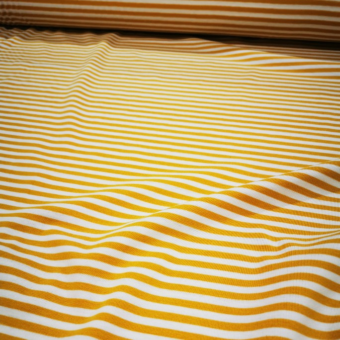Cotton Jersey, White and Mustard Stripe - 1/4 metre