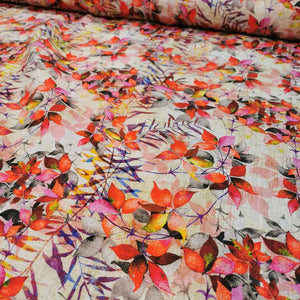 100% Linen, Sunset Foliage - 1/4metre