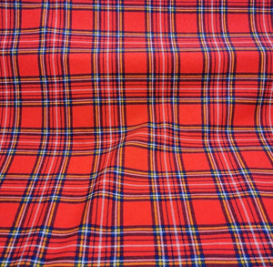 100% Brushed Cotton Flannelette, Red Plaid - 1/4 metre- buy fabric online australia