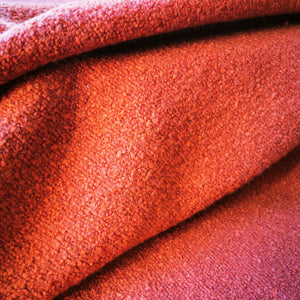Wool Cotton Viscose Boucle Blend in Rust - 1/4 metre