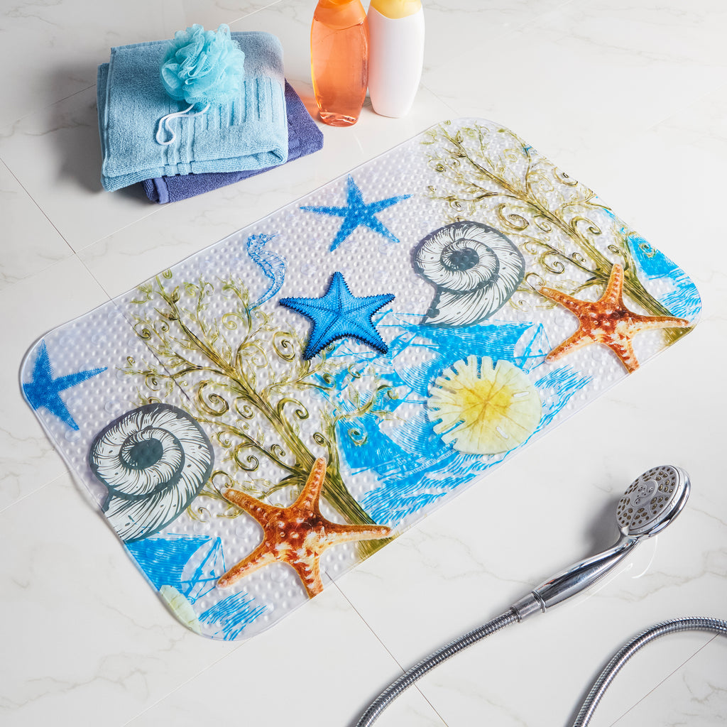 clear non slip bath mat with printed sea stars images