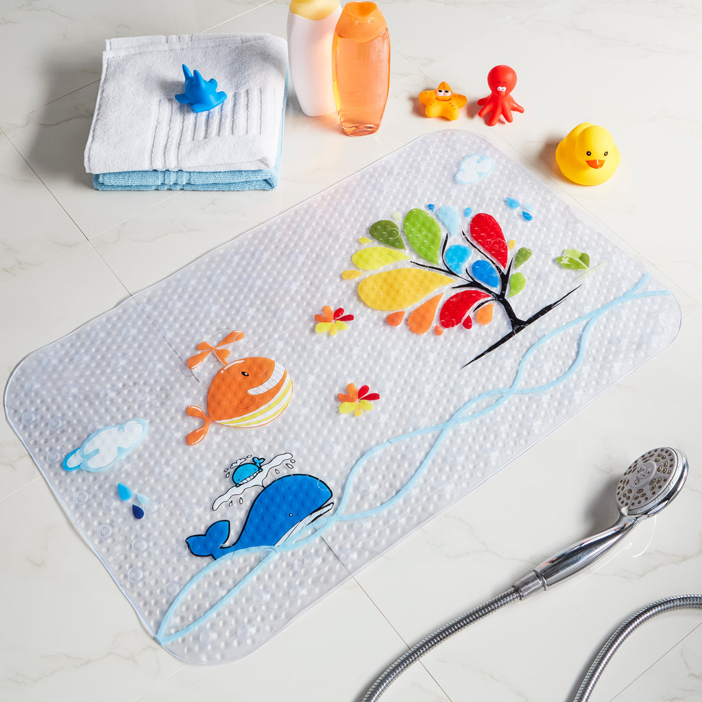 clear non slip bath mat with colour printed whales