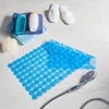 blue non slip bath mat folded