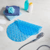 blue oval non slip bath mat with suction cups