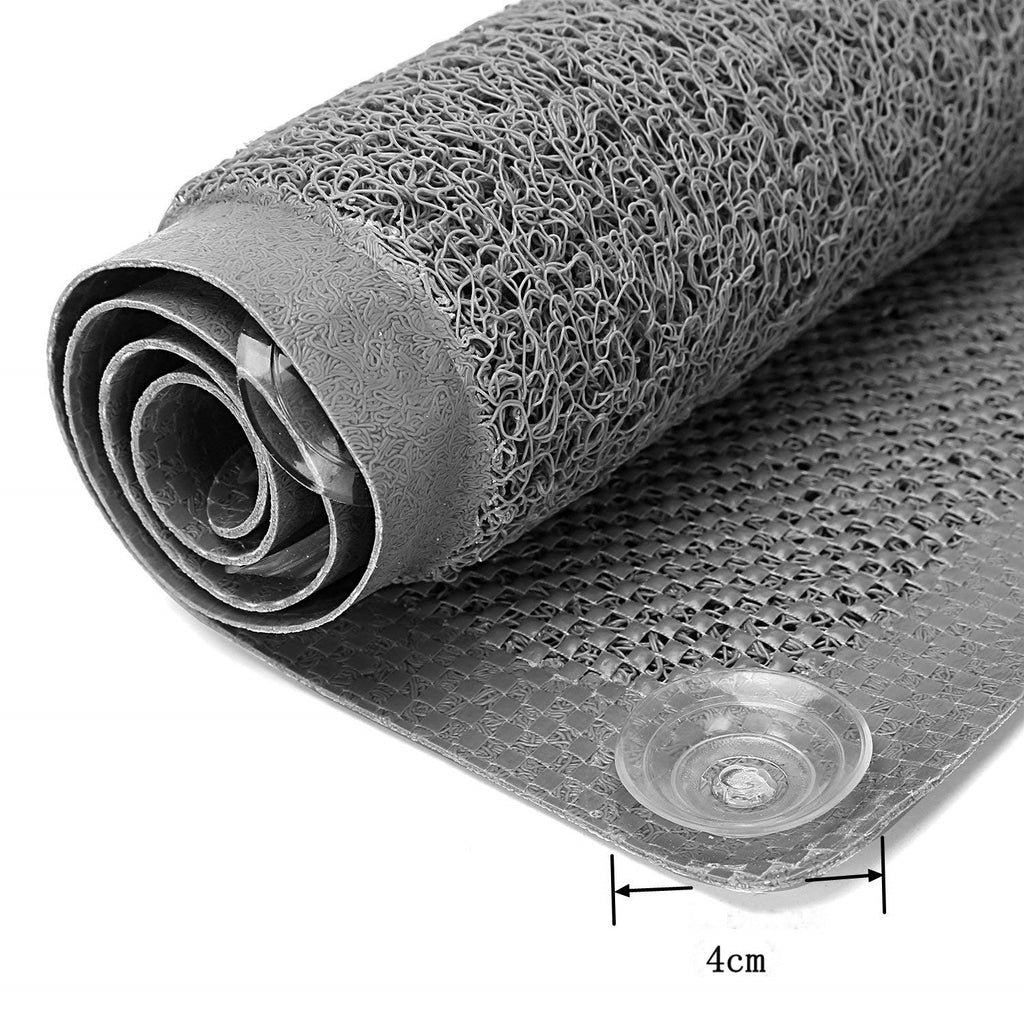 folded grey colour loofah non slip bath mat