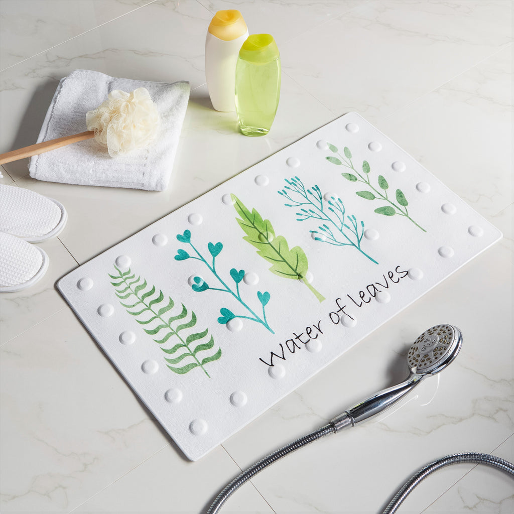 non slip bath mat with printed image of water of leaves