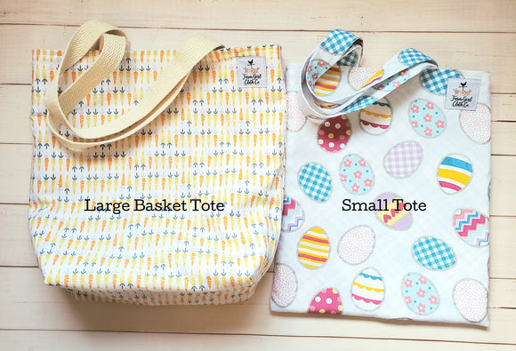 Easter Tote Bags Size Small + Large Tote Basket, Reversible