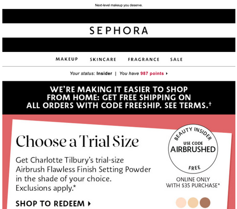 Sephora Coronavirus Bad Branding Example Email, April 6, 2020