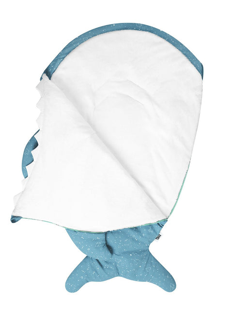 Turquoise shark footmuff for babies - Constellations