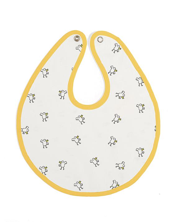 Mustard Bib - Chicks Pattern