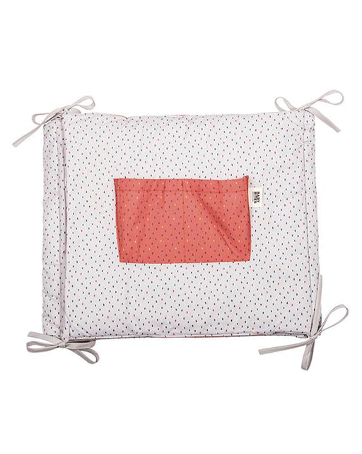 Coral & Beige polka dot cot protector