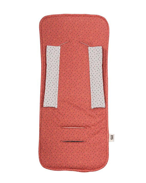 Coral & Beige reversible pushchair mat