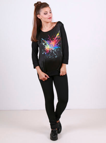 Black T-Shirt With Positional Print