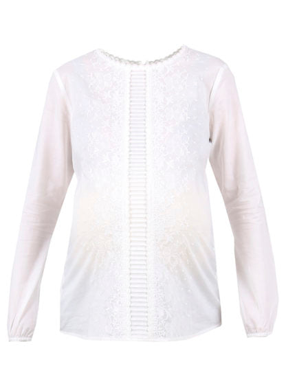 Long-Sleeve Embroidered Vile Blouse