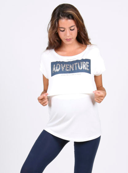 "Lactancy T-Shirt With ""Adventure"" Positional Print"