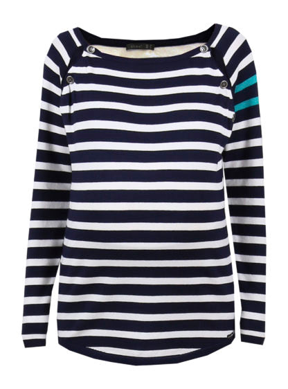 Striped Sweater With Contrast Stripes On Sleeves