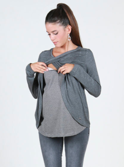Basic Long Sleeves Nursing T-Shirt
