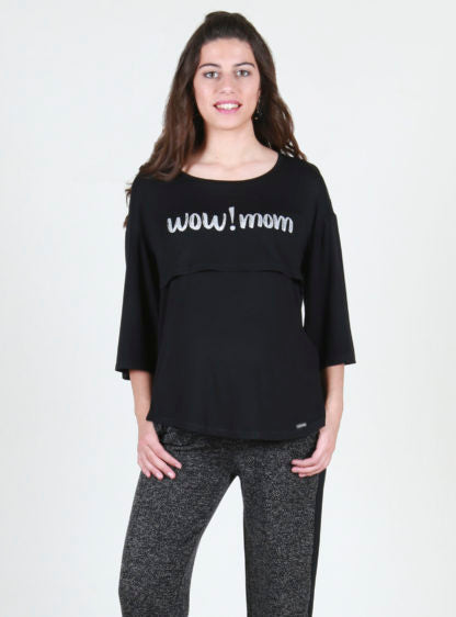 Nursing T-Shirt With Wide 3/4 Sleeves