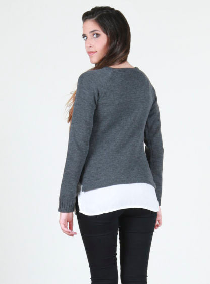 Sweater With 3 Braids And Woven Bottom