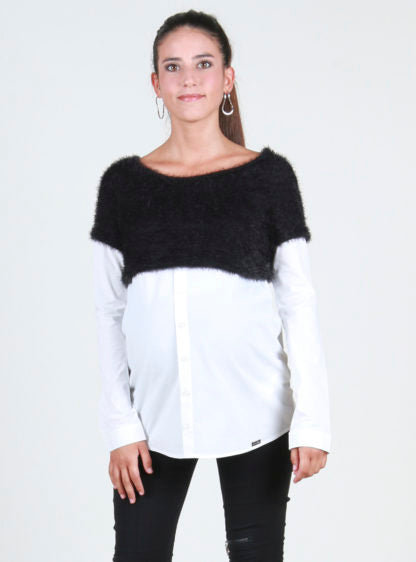 Crop Hairy Sweater With Fake Shirt