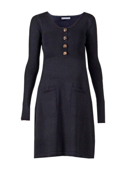 Flat Knit Nursing Dress In Black Color With Buttons