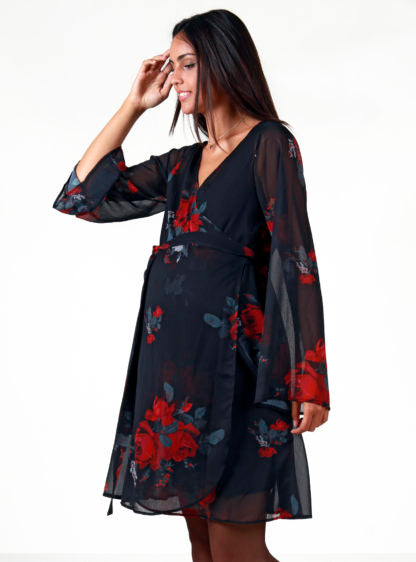 Nursing Dress Printed With Big Flowers