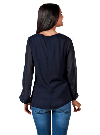Nursing Blouse With Opened Sleeves In Navy Color