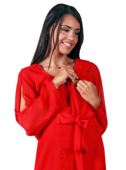 Nursing Blouse With Opened Sleeves In Red Color