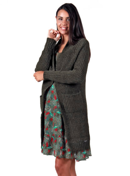 Chenille Cardigan In Kakhy Color