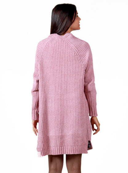 Chenille Cardigan In Pink Color