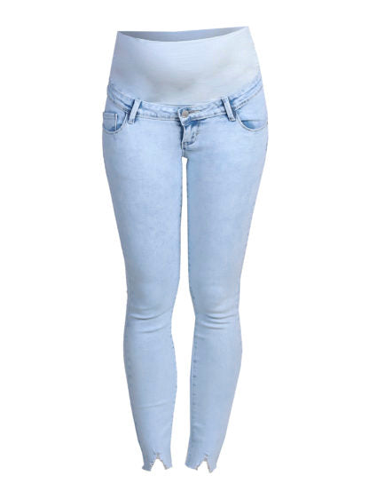 Slim Fit Jeans With Broken Wash Bottom
