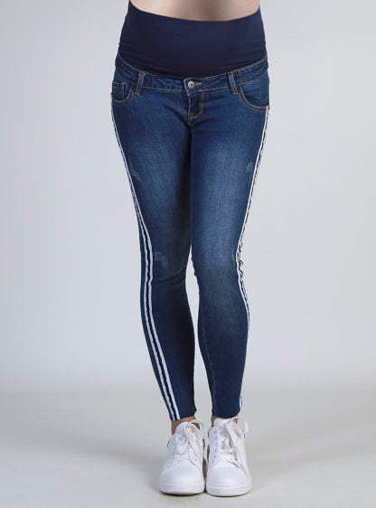 Crop Jeans With Grosgain Tape At Sides
