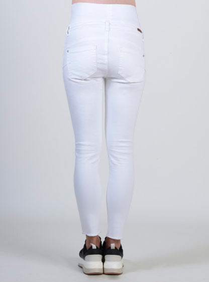 White Crop Jeans With Broken Wash Bottom