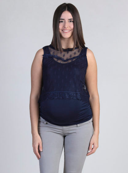 Nursing Lace Top With Inner T-Shirt In Marine