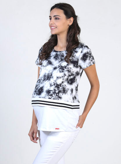 Nursing Tie&Dye T-Shirt With Flat Knit