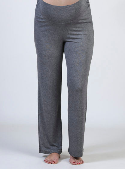 Basic Knit Wide Maternity Trouser In Grey